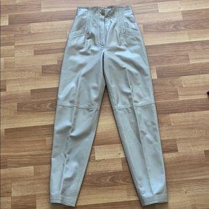 VTG DEYA Sonanini beige leather high waist pants 4